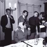 Henri Robillot, assis, le Baron Mollet, Jeanne Hérisson, derrière, Louis Barnier, Emmanuel Peillet, Françoise Gilot. 85ème anniversaire du Baron Mollet, 1962